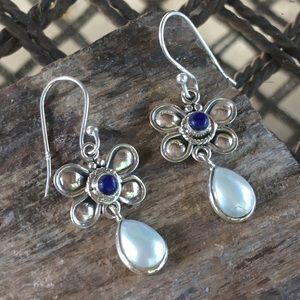 NEW Lapis and pearl sterling earrings